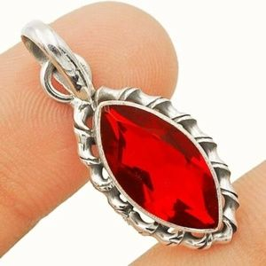 Jewelry - 4CT Fire Garnet, 925 Silver Pendant